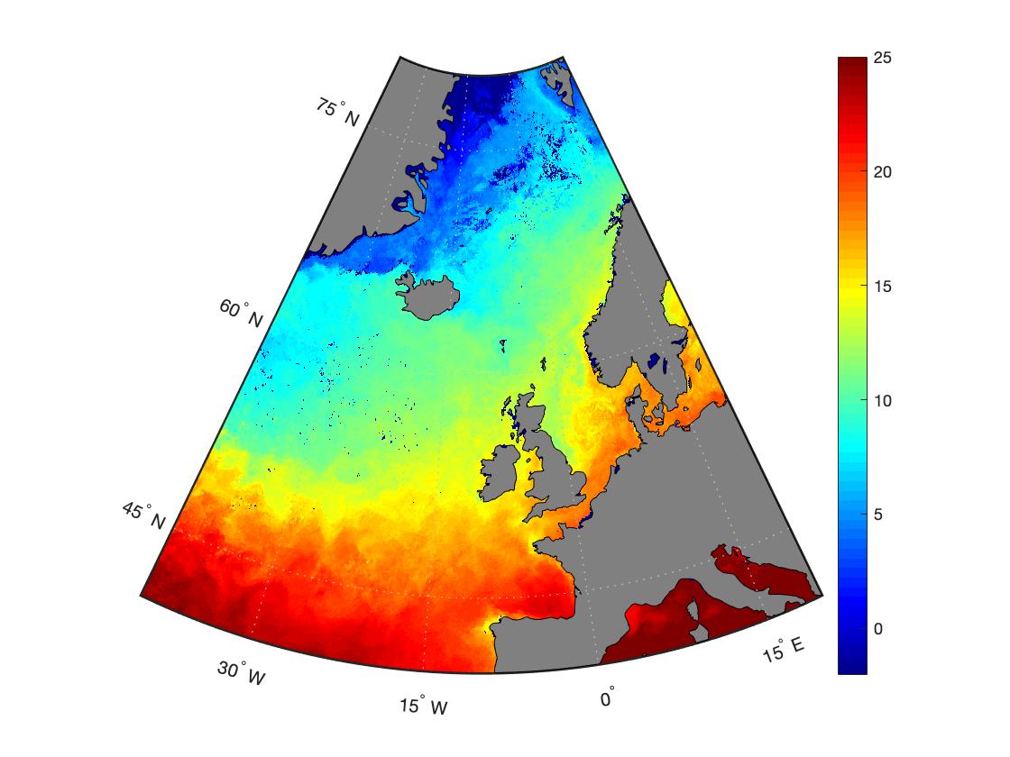 Изменяем цветовую шкалу и диапазон значений на карте  MATLAB