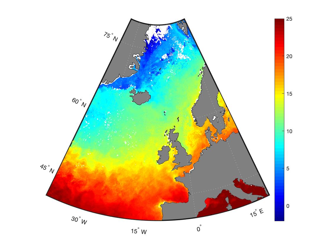 Визуализация карты в MATLAB через geoshow с параметром 'surface'