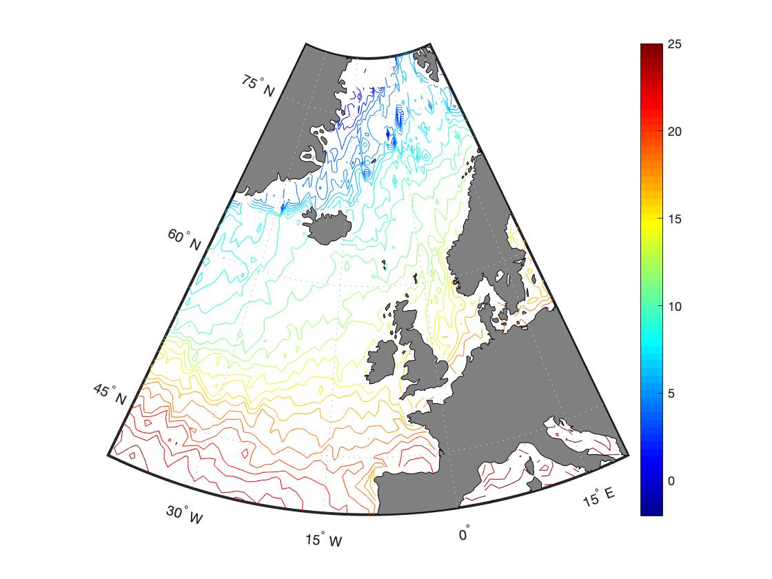Визуализация карты в MATLAB через geoshow с параметром 'contour'