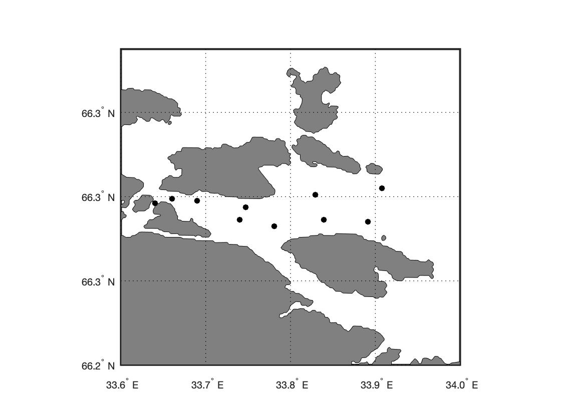 чёрная координатная сетка geoshow matlab