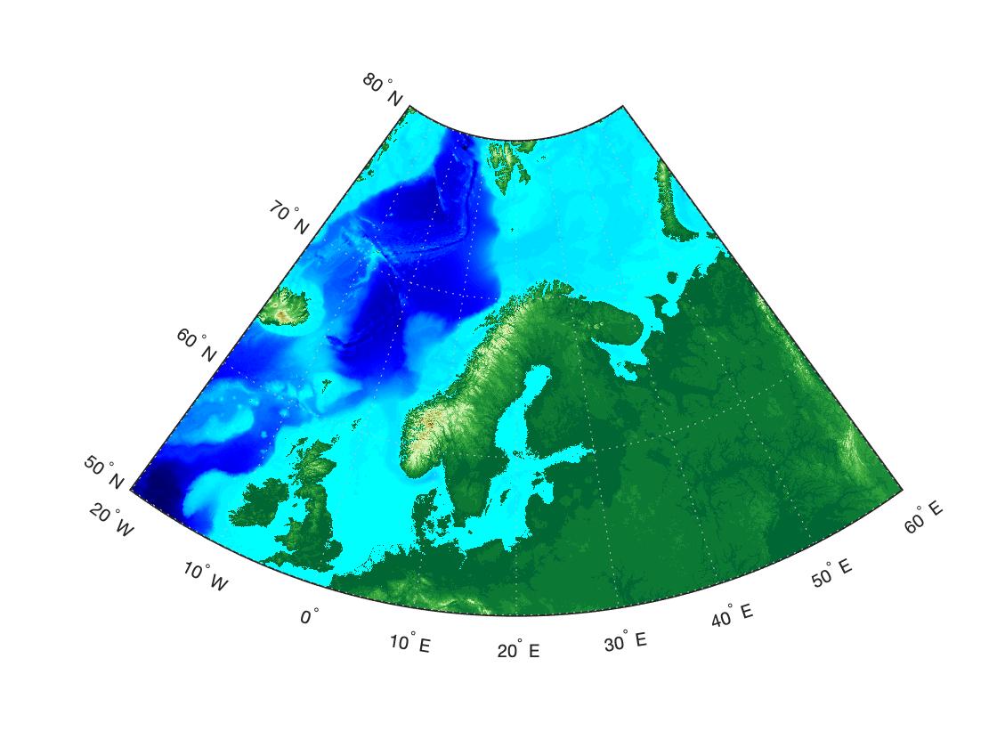 Топографическая карта Европы в MATLAB