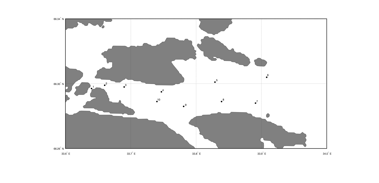 Построение точек на карте с береговой линией по заданным координатам при помощи MATLAB.