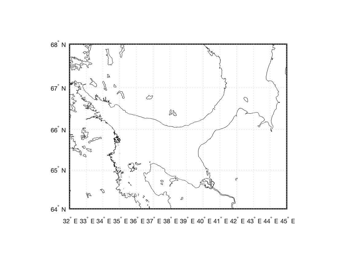 подробная береговая линия gshhs для Белого моря в MATLAB