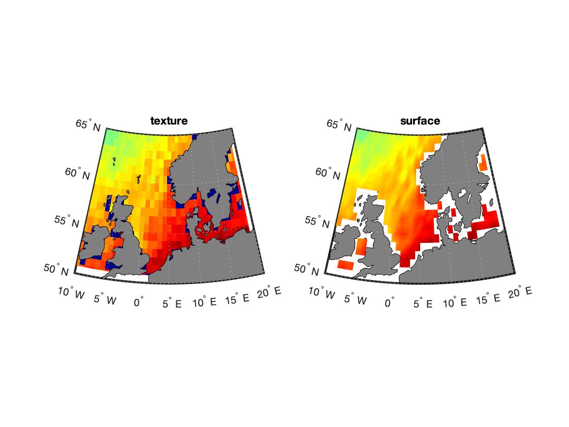 Визуализация карты в MATLAB через geoshow сравнение 'texture' или 'surface'