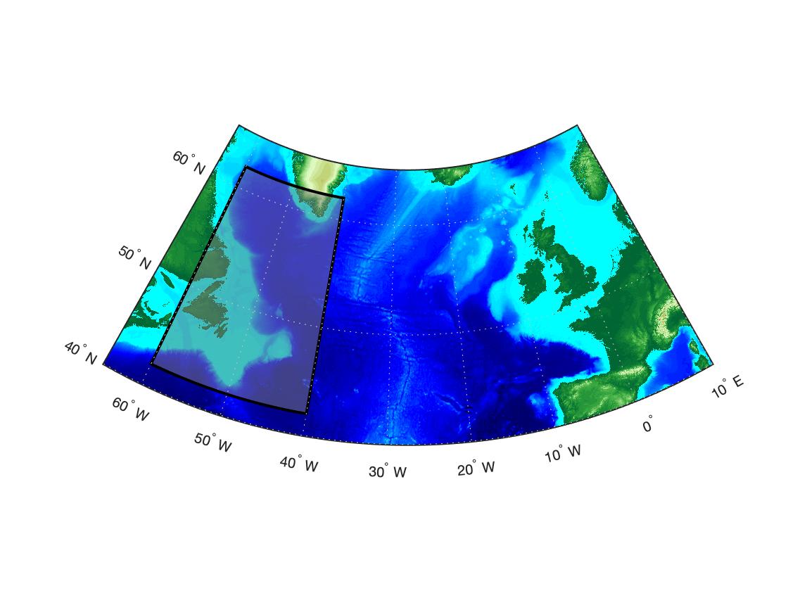 Скруглить линии прямоугольника вдоль параллелей на карте в MATLAB
