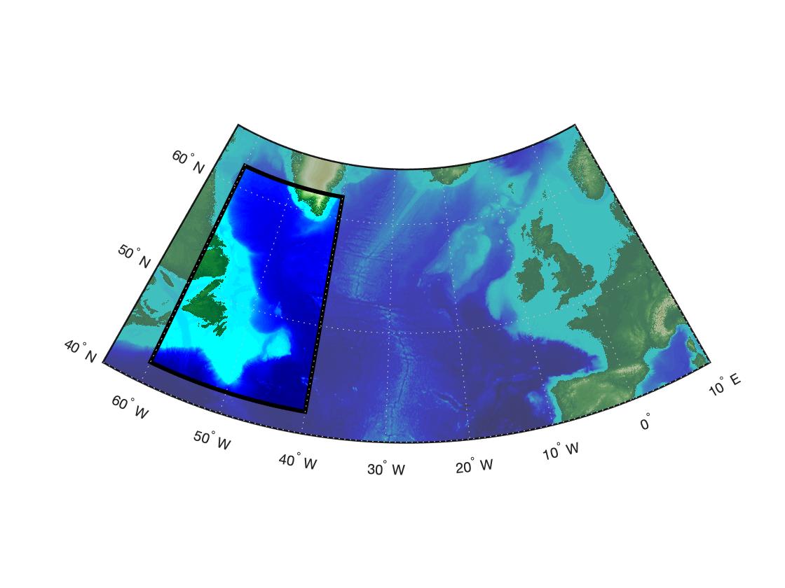 Жирные границы многоугольника с полигоном на карте Атлантики в MATLAB