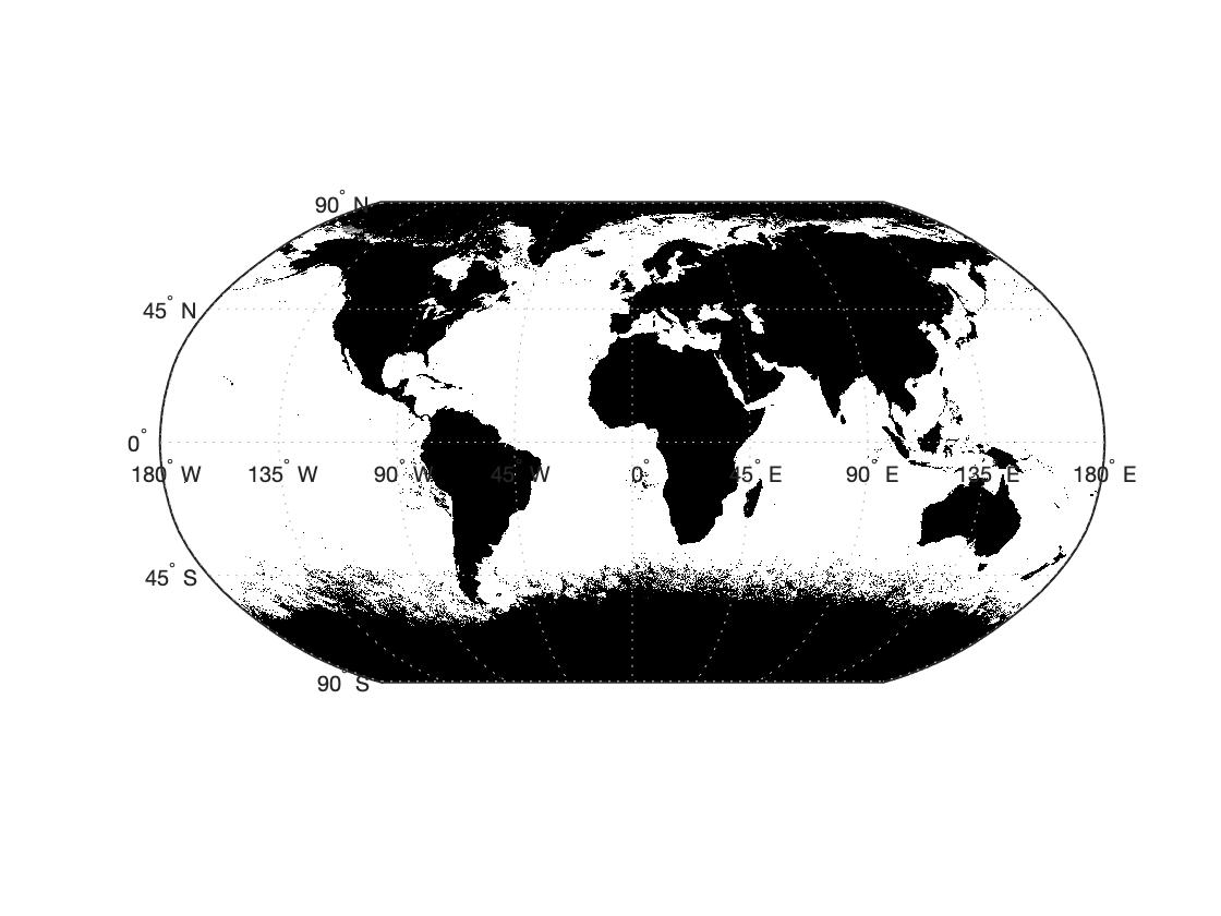 Визуализация карты в MATLAB через geoshow с параметром 'image'