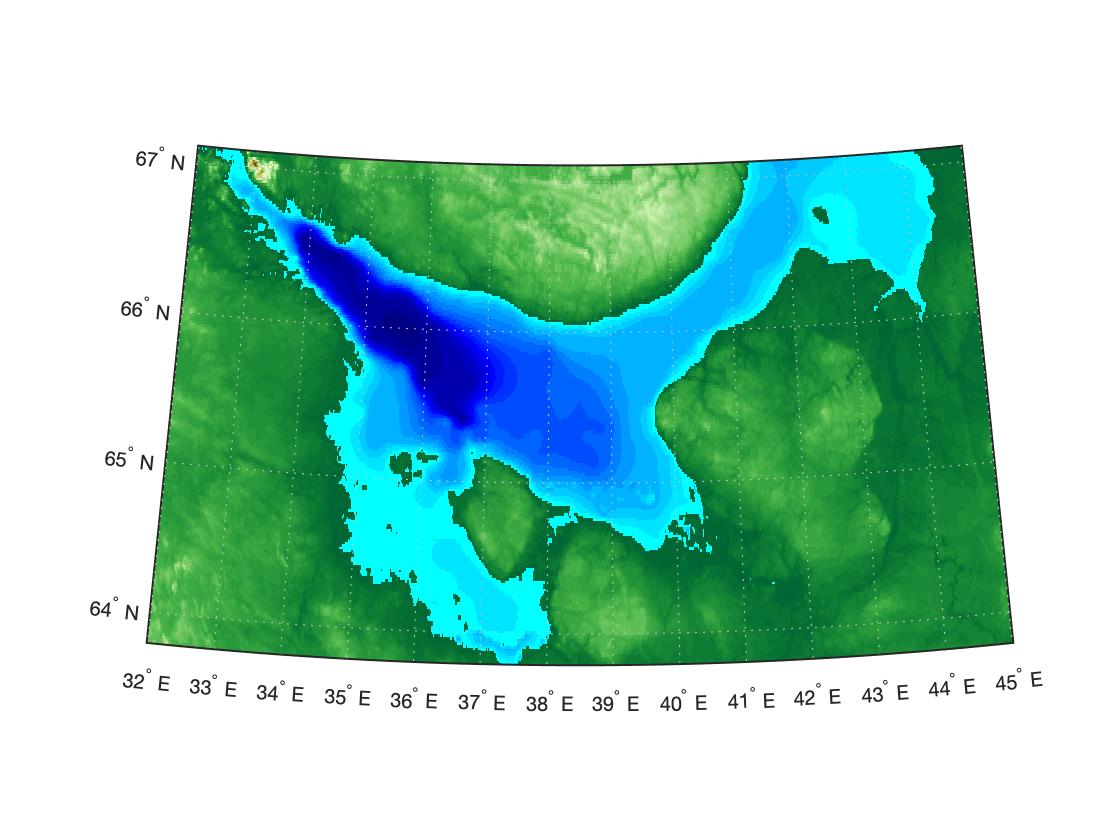 Построение батиметрии моря в MATLAB
