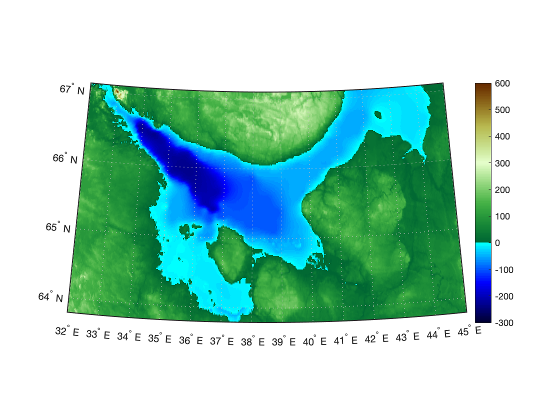 colorbar для батиметрии и топографической карты MATLAB