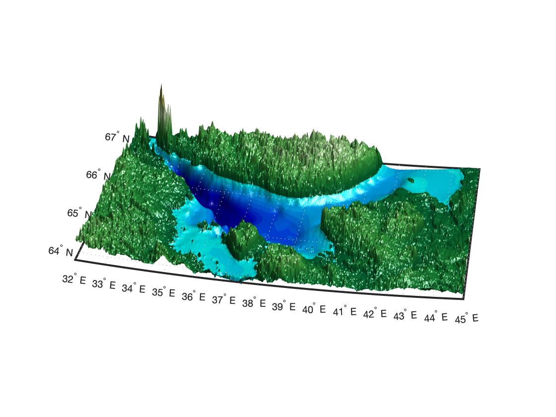 Трёхмерный рельеф Белого моря с батиметрией и топографией в MATLAB