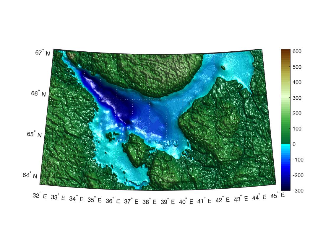 Эффект освещения на карте в MATLAB